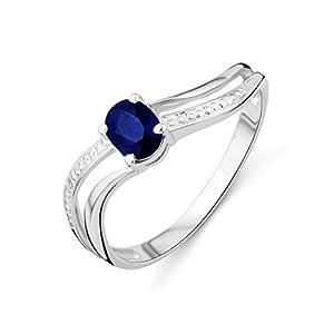 Miore Damen-Ring 375 weißgold mit Sapphire MA937RM Gr. 52