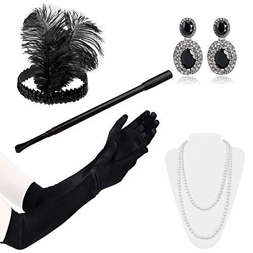 Lukovee 1920er Jahre Zubehör Set Flapper Kostüm Stirnband Handschuhe Zigarettenspitze Halskette Frauen (Schwarz ()