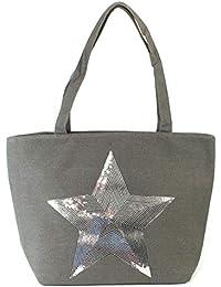 LilyRosa® Bolso de mano de lona con lentejuelas plateadas para mujer 8b6e513c433e