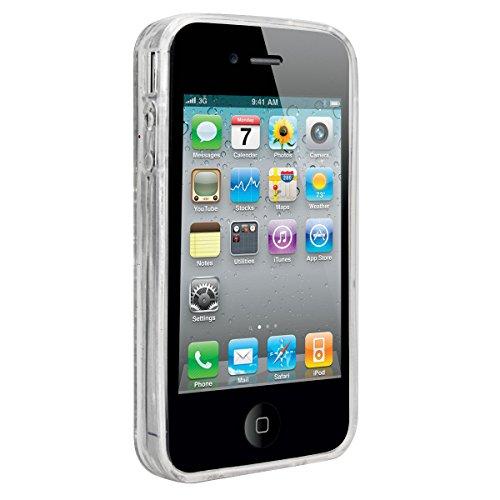 WE LOVE CASE iPhone 4 / 4s Hülle Weich Silikon iPhone 4 4s Schutzhülle Handyhülle Im Durchsichtig Transparent Crystal Clear Treibsand Glitzer Liquid Quicksand Funkeln Stern Liebe Blau Muster Handytasc Silber Liebe