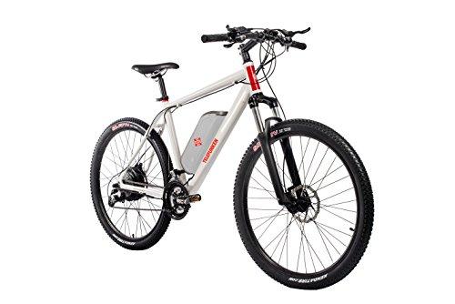 Telefunken E-Bike Mountainbike, Elektrofahrrad 250W und 10 Ah, 36V Lithium-Ionen-Akku, Shimano Kettenschaltung - Pedelec MTB leicht, Alu in Weiß, 27 Gang, Reifengröße: 27,5 Zoll