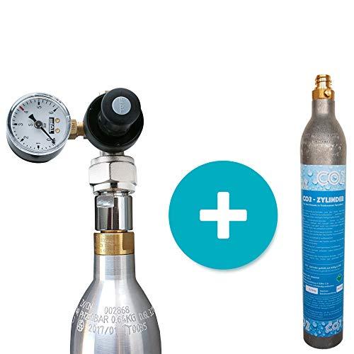 CO2 Druckminderer + Adapter für 425g Flaschen geeignet für Sodastream Zylinder + SPRUDELUX® Zylinder 425g , Schlauchanschluss 6mm für Sprudelanlagen Trinkwassersprudler auch Aquarium Nutzung geeignet