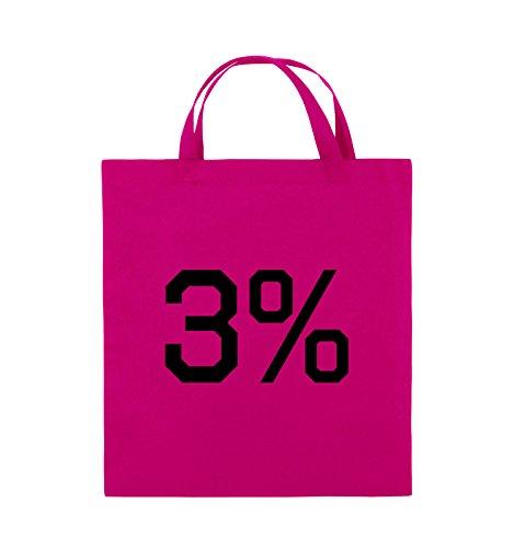 Buste Comiche - 3% - Logo - Borsa Di Juta - Manico Corto - 38x42 Cm - Colore: Nero / Rosa Rosa / Nero