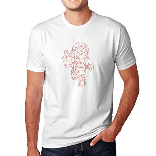 Planet Nerd Polygon Mario - Herren T-Shirt, Größe XXL, weiß