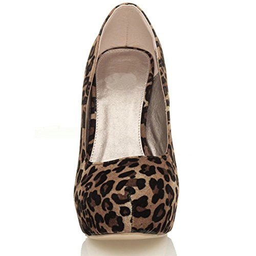 Damen Hoher Absatz Party Abend Verdeckt Plateau-Schuhe Klassisch Pumps Größe Wildleder mit Leopardenmuster