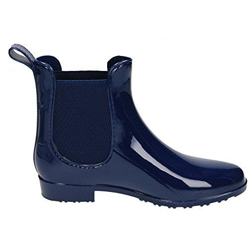 Senhoras Bota De Borracha Tamanho Botas Bootee Patente Rajada De Chuva De Neve Sapatos De Geléia Chelsea Azul