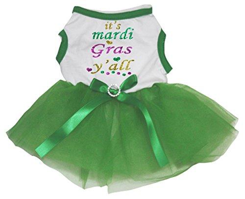 petitebelle Puppy Hund Kleidung it 's Mardi Gras Yall Top limette grün Kleid