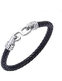 6dd0a675b844 Aruie Bracelet pour Homme en Cuir Aicer Inoxydable avec Fermoir Chiffre 6  Tressé Chaîne de Main