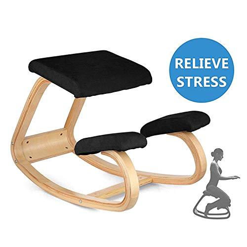 Vogvigo sedia ergonomica in ginocchio sedia in legno di faggio - perfetta per il corpo che modella e allevia lo stress (nero)