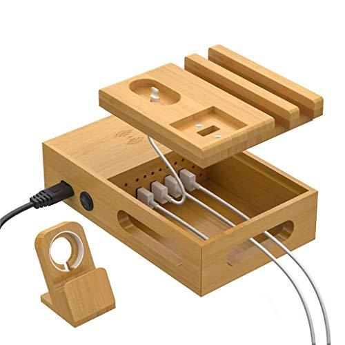 Baslinze Handy Ladestation Aus Holz 5 USB Ladegerät mehrfach Dockingstationen Organizer Kompatibelmit IOS, 5 Kurze USB LadeKabel Inklusive Ladegerät Halterung Handy Holz