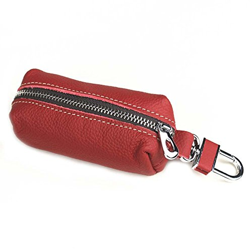 LUCHA Leather Key Case Holder Organizer Portamonete in Pelle con Gancio per Uomini e Donne, Rosso