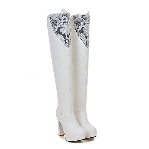AllhqFashion Damen Hoher Absatz Rein Rund Zehe Weiches Material Ziehen Auf Stiefel Weiß