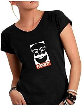 Social Crazy T-Shirt Donna Cotone Fiammato Scollo Ampio a Taglio Vivo - Fsociety - Divertente Humor Made in Italy