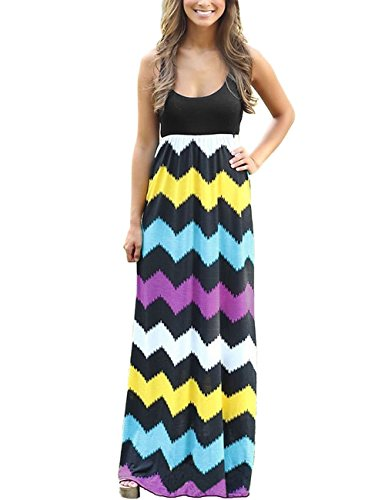 dragonpad-womens-summer-beach-sleeveless-striped-maxi-long-vest-dress-black-xl