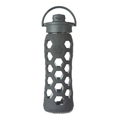 Life factory botella de vidrio con tapa,  650 ml, Gris - gris oscuro