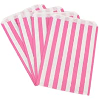"100 CANDY STRIPE PAPER BAGS SWEET FAVOUR BUFFET GIFT SHOP PARTY SWEETS CAKE WEDDING JeeJaan (7"" x 9"", Pink)"