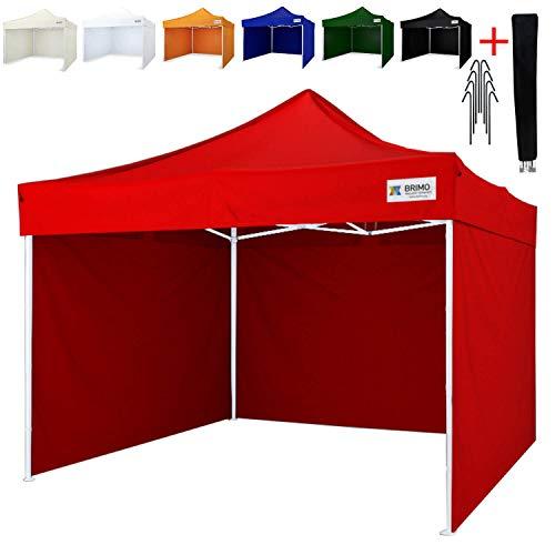 Party zelt Exclusive BRIMO ® Komplett 3 volle Wände + 8 Verankerungsdübel und Schutzhülse Gratis! (3x3m, Rot)