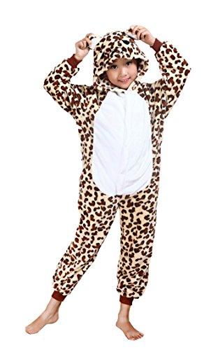 Cliont Kinder Tier Onesie Cheetah Pyjamas Kigurumi Weihnachten Kinder Sleepwear Kostüm Anime (Cheetah Mädchen Kostüm)