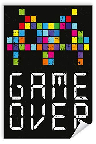 Postereck - Poster 2218 - Retro Plakat, Game Over Grafik Motivation bunt schwarz Größe DIN - A2-42.0 cm x 59.4 cm (Game Over Poster)