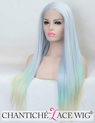 Chantiche Light Blue Lace Front Wigs for Women Middle Part Mix Color Long Straight Synthetic Wig Ponytail Heat Resistant 3 toned wigs 20 Inches -