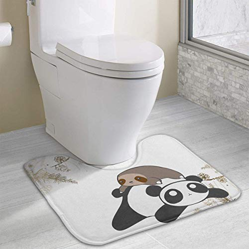 (Hoklcvd Sloth and Panda U-Shaped Toilet Floor Rug Non-Slip Toilet Carpets Bathroom Carpet)