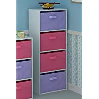 Home Source Tier Toy Storage Unit Kids Chest of 4 Canvas Drawers for Bedroom or Playroom
