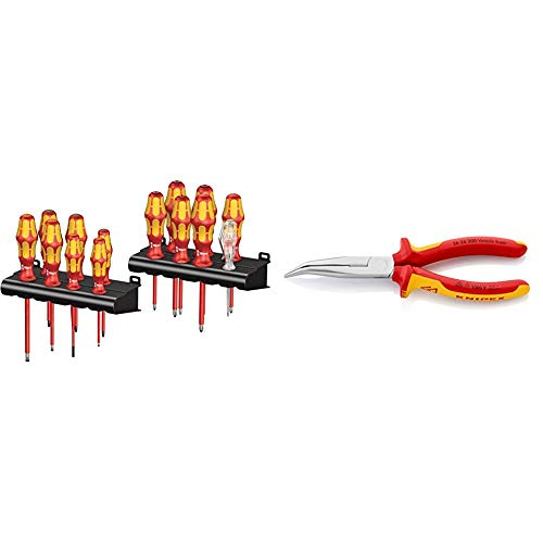 Wera Kraftform Big Pack 100 VDE, Schraubendreher Set 14-teilig, 05105631001 & Knipex 26 26 200 – Flachrundzange mit Schneide, VDE-geprüft