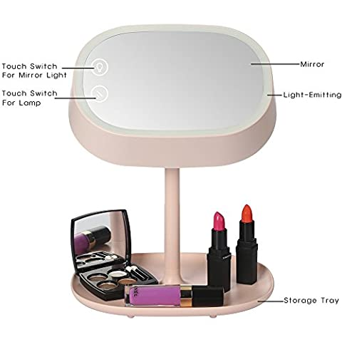 AMMBER Lighted Makeup Vanity Mirror with Table Lamp for Bedroom Home, SmartMakeup Mirror with Touch Sensor LED Night light for Women