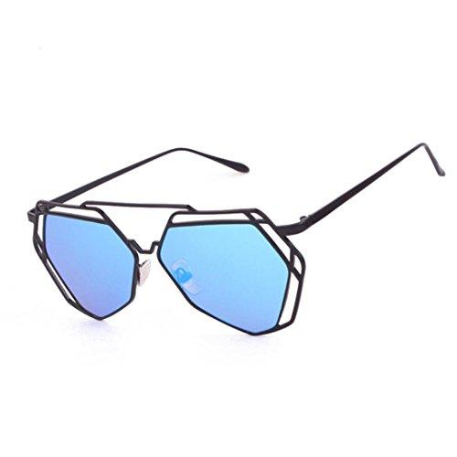 Top Sonnenbrille (Mode Brille FORH Damen Herren Unisex Sonnenbrillen Summer Funny Unregelmäßige Sonnenbrille Beliebte Metallrahmen Spiegel Cat Eye Brille Freizeit Sportbrillen (Blau))