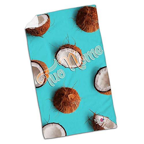 Babloo telo mare da spiaggia coconut sfondo azzurro personalizzato con nome 80x160