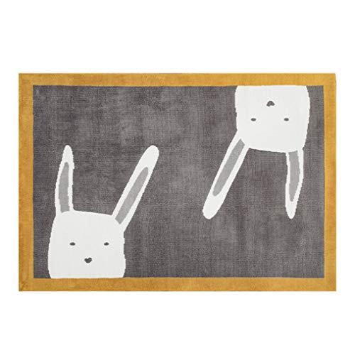 Jungen MäDchen Cartoon-Quadrat-Teppich Verdicken Mit Nettes WeißEs Kaninchenmuster, Kinder Baby Spiel Krabbeln Matte, Kleinkinder Sitzen Kissen Oder Schlafsack, Kinderzimmer Dekor 4 'X 5'6 Ft,Gray