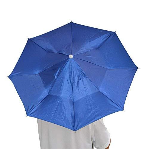 Ogquaton 1 UNIDS Sombrero Paraguas Plegable Anti-UV con Correa Ajustable Multifunción Sombrilla Gorra Protector Solar para Pesca Senderismo Camping Azul Oscuro