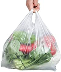 Fashlady 10-1/4\ x 15\ : 100pcs Strong 30 Micron White Vest Style Carrier Bags for Supermarket Retail Shopping Household Food Storage Bags (10-1/4