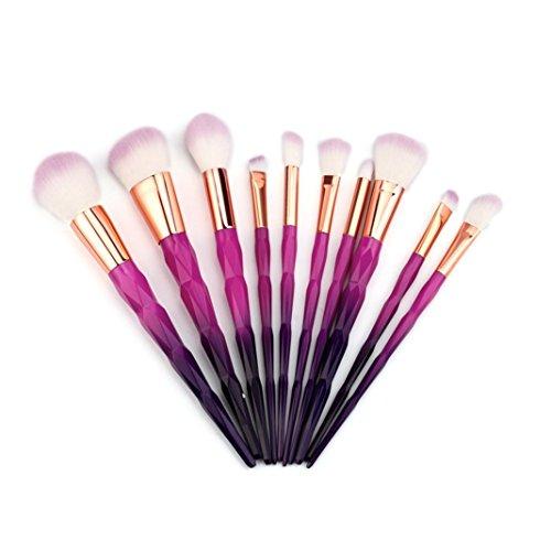 Chaud ! Amuster 10PCS Maquillage fondation crayon à sourcils eyeliner cosmétique correcteur pinceau (Violet)
