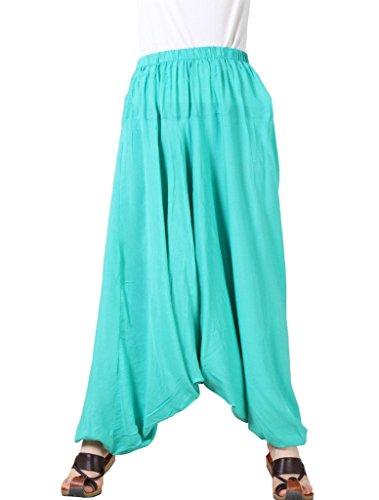 MatchLife, pantaloni da donna, larghi, in tinta unita M002-Turquoise(Fit UK 4-18)