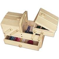 Aumueller - Costurero (madera de haya, 34 x 16 x 28 cm), color claro