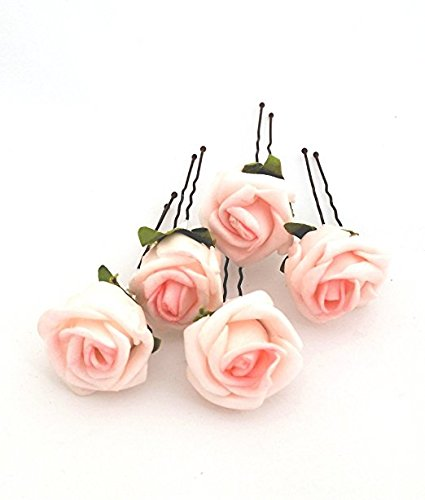 5 Small Pale Pink Roses Artificial Hair Flower Pins Made in UK