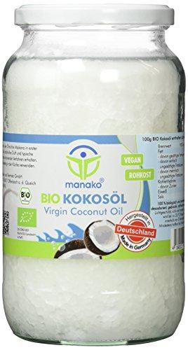 manako BIO Kokosöl/ Kokosfett, kaltgepresst, 100% rein, 900 ml Glas (1 x 0,9 l)