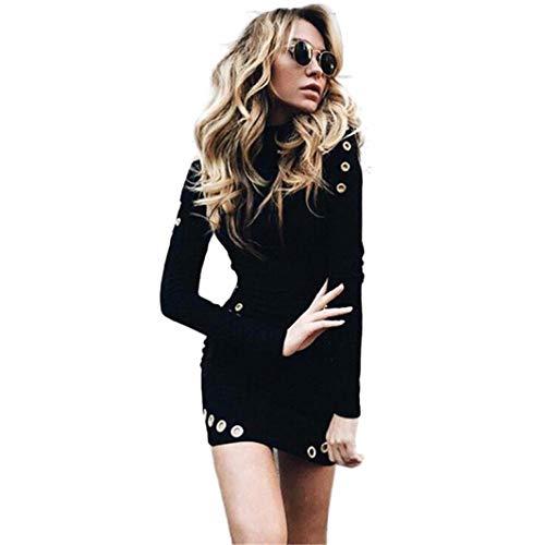JiaMeng Damen schwarz hochgeschlossenen Rock Langarm Paket Hüfte Schlankes Kleid