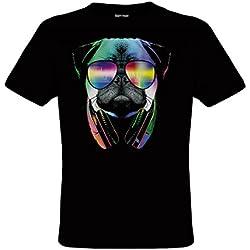 DarkArt-Designs DJ Pug - Camiseta perros para niños y adultos - Motivo de animales Estilo de Vida T-Shirt regular fit, negro, 152/164