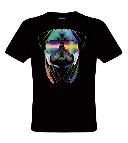 DarkArt-Designs DJ Pug - Hunde T-Shirt für Kinder und Erwachsene - Tiermotiv Shirt Musik Party&Freizeit Lifestyle regular fit, Größe152/164, schwarz (Schwarz Hund Erwachsene T-shirt)