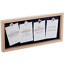 Dcasa - Panel portafotos con pinzas múltiple madera para 4 fotos