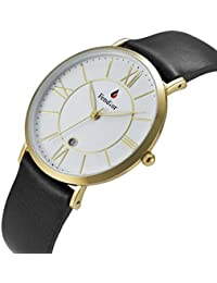 Fendior Ultra-thin Mens Classy Leather Band Gold-tone Quartz Watches With Date