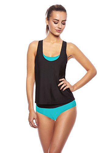 3 tlg. Damen Push up Tankini Set mit Shirt Top Slip - Ideal für Strand Sport Yoga Fitness Bikini Badeanzug verschiedene Farben und Größen f5390 3tlg. Set Türkis/Schwarz U(tu)