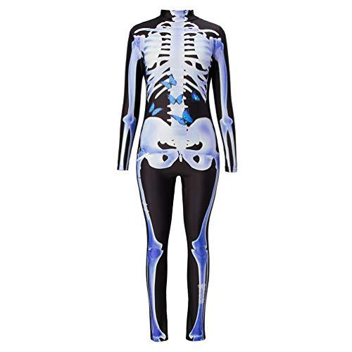 RAISEVERN Frauen 3D Gedruckte Butterfly Skull Adult Halloween Skelett Kostüm Body Overall schwarz blau