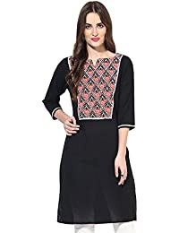 Jaipur Kurti Pure Cotton Printed 3/4th Sleeves Black Kurti