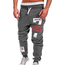Chándal de hombres Amlaiworld Moda Pantalones de chándal de hombre Pantalones casuales para hombres Running Yoga Pantalones Deportes (Gris oscuro, XL)