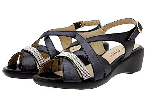 Scarpe donna comfort pelle Piesanto 8558 sandali comfort larghezza speciale Persia Negro