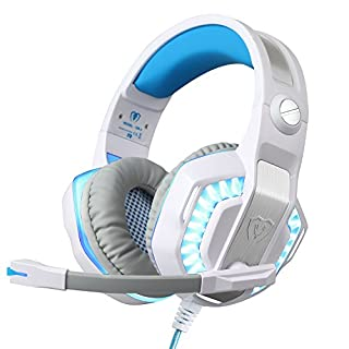 BlueFire Upgraded Gaming Headset for PS4 / Xbox One/Xbox One S, with LED Light Soft Mic Volume Control 3.5mm Wired Headphone for iPhone/iPad / Android Phone/Computer (White)