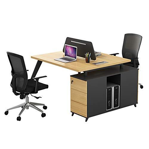 2-Personen-Computertisch mit 2 kostenlosen Schließfächern, moderne Doppelarbeitsstation, große, lange Schreibtische, umweltfreundliches E1-Material, dauerhaft feuerfest, für das Büro zu Hause (Personen Zwei Büro-schreibtisch,)